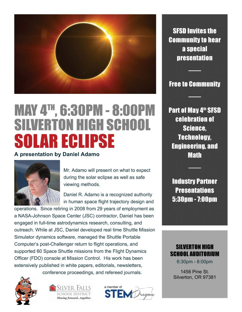 SFSD invites the community to a free Eclipse presentation on May 4th from 6:30 to 8:00 pm
