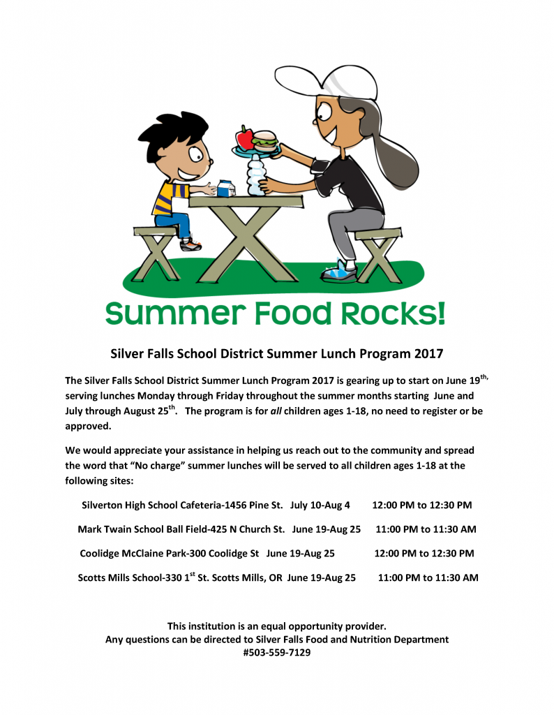 Summer Lunch program flyer. Contact the district office for more information